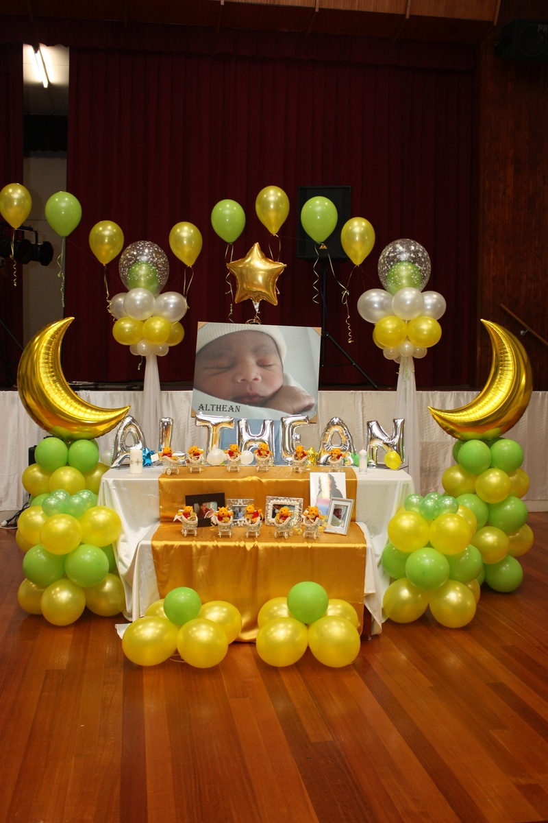 Christening balloons and decorations party favors ideas for Balloon decoration for stage